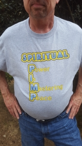 Tree Hugger in High Heels Spiritual Pimp tshirt gray